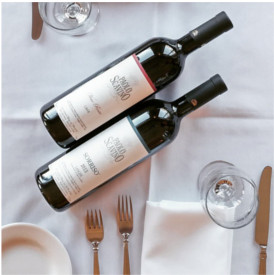 Paolo Scavino bottles of wine placed in center of Luci Ancora Table Setting